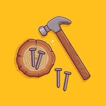 Młotek i gwóźdź wektor złota rączka narzędzia ikona plierl gwoździe siekiera młotek