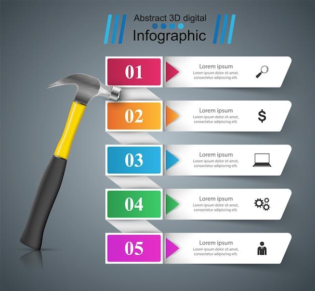 Młotek, ikona naprawy. biznesowy infographic wektor eps 10