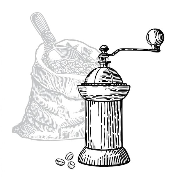 Młyn do kawy szkic ziarna kawy w torbie