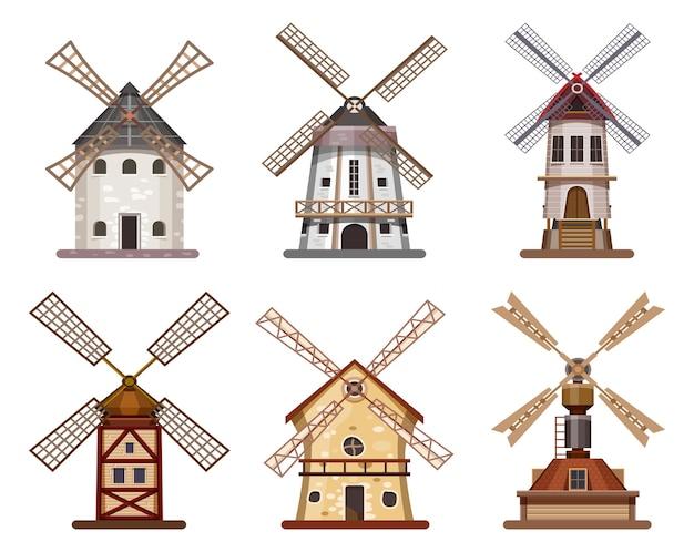 Młyn lub wiatrak drewniany budynek pszenicy i mąki, ikony na białym tle.