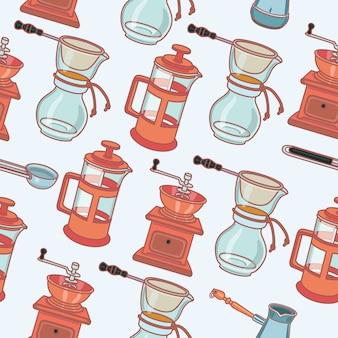 Młynek do kawy, ekspres do kawy gejzer i puchar, wektor wzór