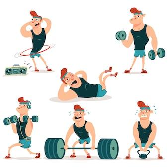 Mn robi ćwiczenia fitness z hantlami, sztangą, ciężarem i zestawem postaci z kreskówek hula-hoop.