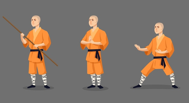 Mnich shaolin w różnych pozach. męska postać w stylu cartoon.