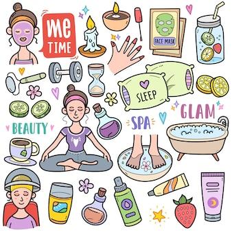 Mnie Czas Abstrakcyjna Koncepcja Związana Ze Zdrowiem I Pielęgnacją Ciała Kolorowe Elementy Grafiki Wektorowej Doodle Premium Wektorów