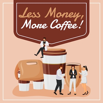 Mniej pieniędzy, więcej postów z kawy w mediach społecznościowych. motywacyjne zdanie. szablon banera internetowego. booster coffeeshop, układ treści z napisem. plakat, reklamy drukowane i ilustracje