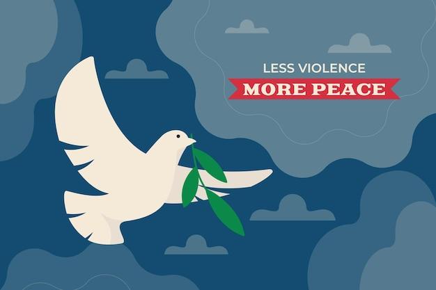 Mniej przemocy, więcej spokojnego tła z ilustracją gołębicy