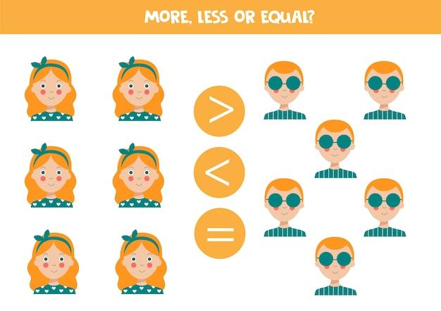 Mniej równe z uroczymi dziewczynami i chłopcami gra matematyczna