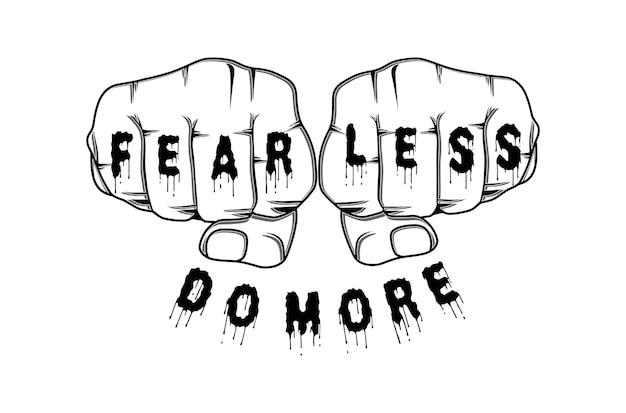 Mniej strachu rób więcej motywacyjny inspirujący cytat t shirt projekt graficzny wektor