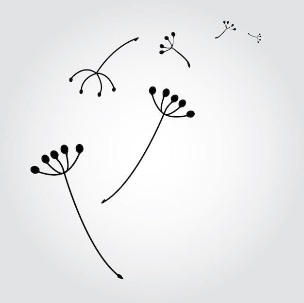 Mniszek lekarski z ilustracji wektorowych nasion