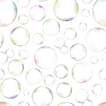 Mnóstwo baniek mydlanych na białym tle szwu