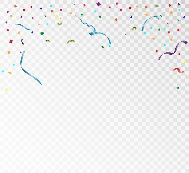 Mnóstwo kolorowych maleńkich konfetti i wstążek na przezroczystych