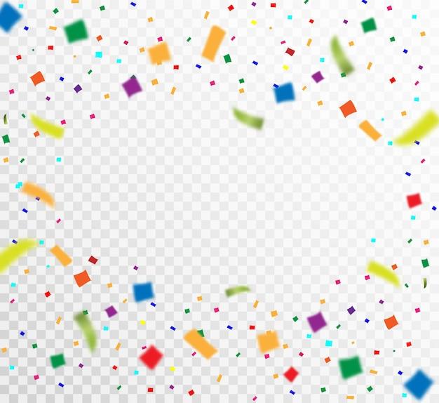 Mnóstwo kolorowych maleńkich konfetti i wstążek na przezroczystym.
