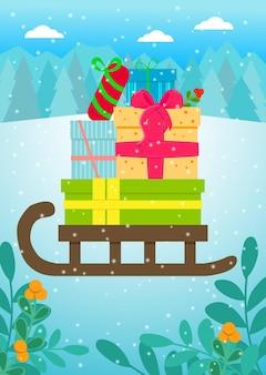 Mnóstwo prezentów świątecznych na drewnianych saniach w lesie. ilustracja wektorowa.