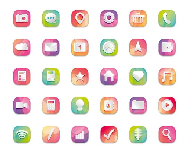 Mobile, web, ikona przycisków aplikacji na białym tle, szczegółowy projekt, ilustracja