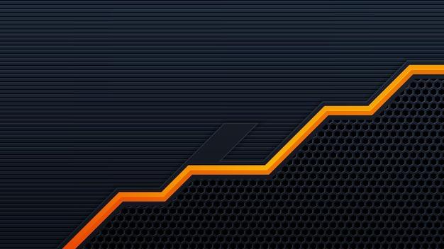 Mobileabstract 3d czarne tło technologii nakłada się na warstwy w ciemnej przestrzeni z dekoracją z pomarańczowym efektem świetlnym. nowoczesne elementy szablonu projektu graficznego dla plakatu, ulotki, broszury lub banera
