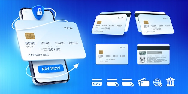 Mobilna aplikacja bankowa i zestaw ilustracji kart bankowych