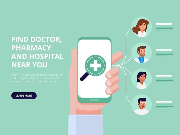 Mobilna aplikacja medyczna. koncepcja online lekarza. płaska ilustracja