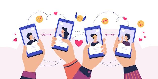 Mobilna aplikacja randkowa. kreskówka ręce trzymając smartfon z profilami mężczyzny i kobiety, usługa znalezienia pary