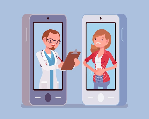Mobilna aplikacja telemedyczna na smartfona i lekarz-mężczyzna