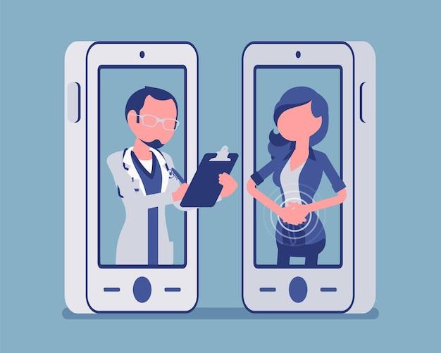 Mobilna aplikacja telemedyczna na smartfona i lekarz. przydatne narzędzie mobilne do zarządzania służbą zdrowia, zdalną profesjonalną konsultacją pacjenta. ilustracja wektorowa, postacie bez twarzy