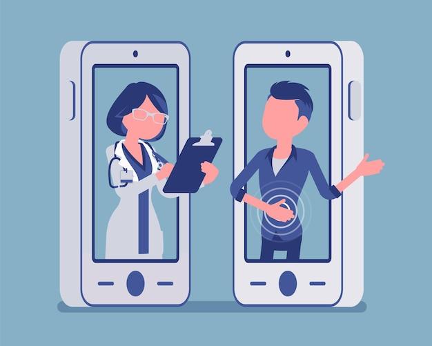 Mobilna aplikacja telemedyczna na smartfony, lekarka. przydatne narzędzie urządzenia mobilnego do zarządzania służbą zdrowia, zdalnej profesjonalnej konsultacji pacjenta. ilustracja wektorowa, postacie bez twarzy