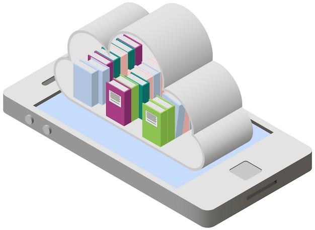 Mobilna biblioteka na ekranie smartfona w stylu izometrycznym.