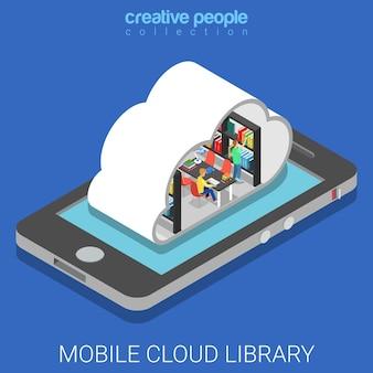 Mobilna biblioteka w chmurze płaska izometryczna