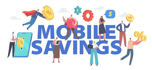 Mobilna koncepcja oszczędności. drobne postacie męskie i żeńskie umieszczają złote monety na ogromnym ekranie smartfona tworząc plakat, baner lub ulotkę dotyczącą inwestycji finansowych online. ilustracja wektorowa kreskówka ludzie