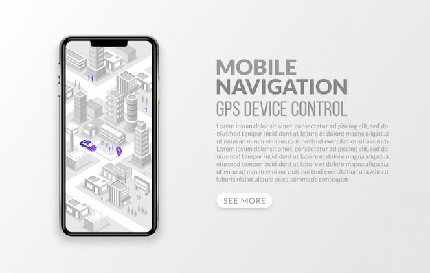 Mobilna nawigacja gps i śledzenie z izometryczną mapą i znacznikiem, koncepcja globalnego systemu pozycjonowania