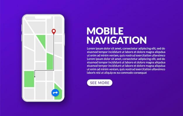 Mobilna nawigacja gps i śledzenie z mapą miasta i znacznikiem, koncepcja globalnego systemu pozycjonowania
