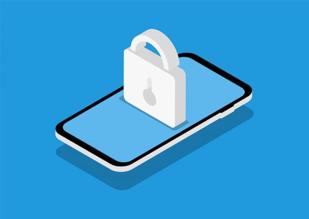 Mobilna ochrona danych w izometrii. rodo. nowoczesne strony internetowe dla witryn internetowych.