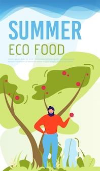 Mobilna okładka letniej promocji żywności ekologicznej w stylu płaskiego