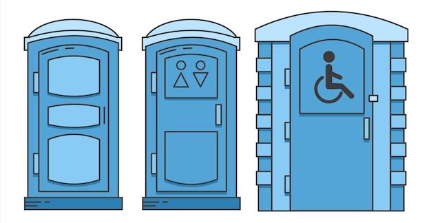 Mobilna przenośna biotoaleta toaleta dla osób niepełnosprawnych widok z przodu szafa z tworzywa sztucznego w kolorze niebieskim wc