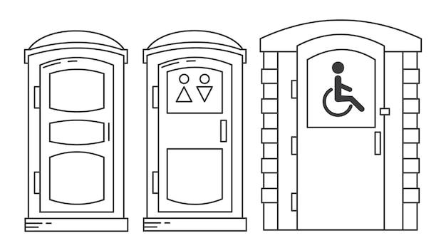Mobilna Przenośna Toaleta Bio. Toaleta Dla Osób Niepełnosprawnych. Niebieska Plastikowa Szafa Wc. Premium Wektorów