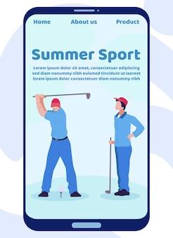 Mobilna strona docelowa letniego sportu z golfistami