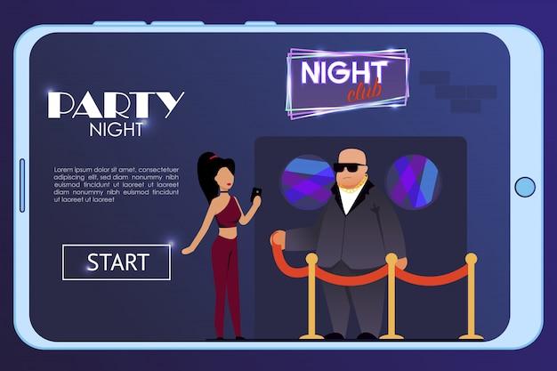 Mobilna strona docelowa reklamująca radosną imprezową noc