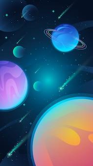 Mobilna tapeta wszechświata z planetami