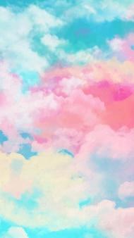 Mobilna tapeta z akwarelowym niebem