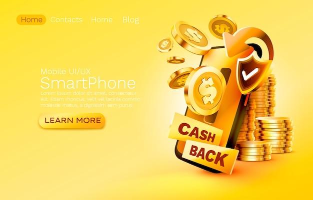 Mobilna usługa zwrotu gotówki płatność finansowa smartfon technologia ekranu mobilnego mobilny wyświetlacz światła ...