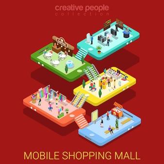 Mobilne centrum handlowe płaskie izometryczne