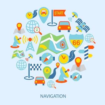 Mobilne elementy nawigacyjne płaskie