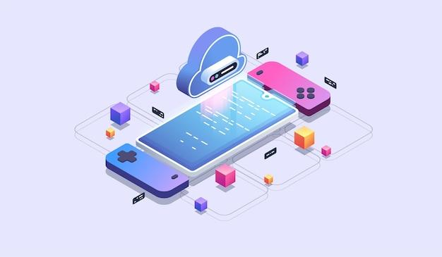 Mobilne gry w chmurze. tworzenie gier na telefon. nowoczesna ilustracja izometryczna.