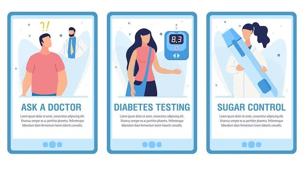 Mobilne konsultacje medyczne online zestaw płaskich stron