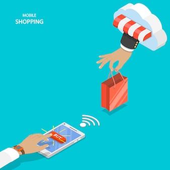 Mobilne zakupy koncepcja płaski wektor.