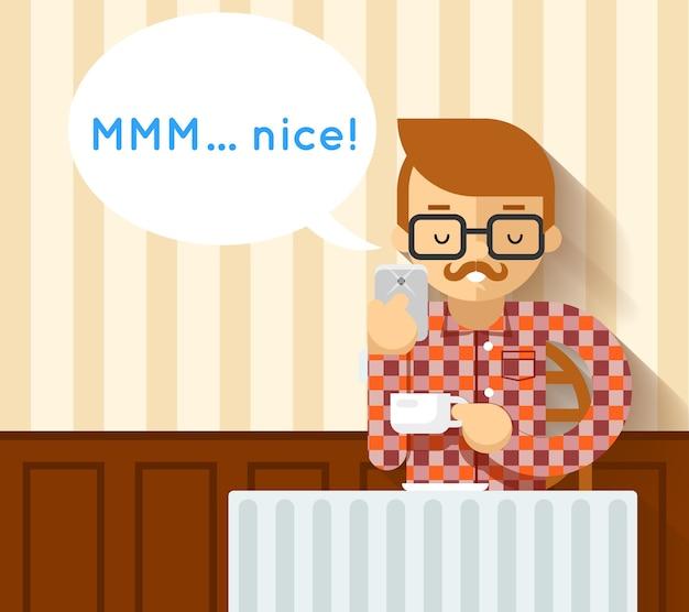 Mobilne zdjęcie kawy hipster. zdjęcie i strzyżenie, wąsy i smartfon,