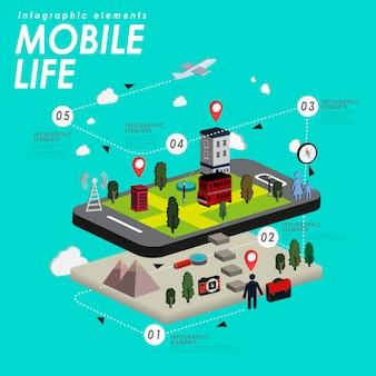Mobilne życie z pięknym miastem i smartfonem w 3d izometrycznym płaskim stylu