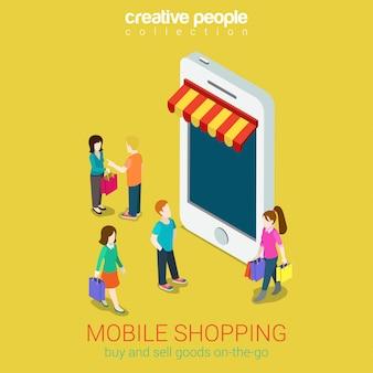 Mobilnego zakupy handlu elektronicznego sklepu internetowego pojęcia isometric ilustracja. ludzie chodzą w pobliżu sklepu ze smartfonami.