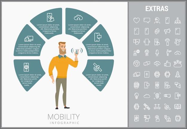 Mobilność infographic szablon, elementy i ikony