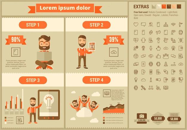 Mobilność płaska konstrukcja infographic szablon i ikony zestaw