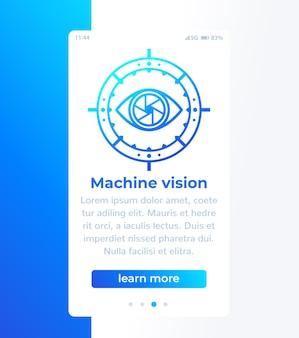 Mobilny baner wizji maszynowej z ikoną